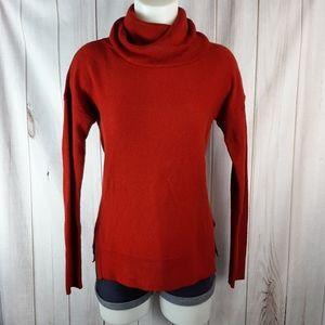Talbots Small Turtleneck Red Textured Sweater Long
